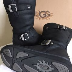 👣RARE👣 Ugg 'Kensington' Leather Boots Size 6 👣RARE👣 Black UGG 'Kensington' Leather Boots  Buckle strap accents, a gored shaft, and a metal UGG logo detail at the heel (compared to the Kensington II, which has a leather patch logo) lend edgy style to these cozy boots from UGG.  Soft sheepskin lining provides unrivaled warmth, while padded insole provides cushioning and flexibility with each step.  -=Like New=- Barely worn.  Original box included.  Reasonable offers are gladly considered…