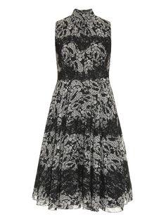 Dolce & Gabbana Lace-panel bouquet-print dress