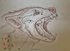 The brother to the first hyena. This one isnt thrilled at all, either! I really loved doing this guy. Though looking at it now, his nose looks a wee bit small, hrmph. Again, skull is ink, the outli...