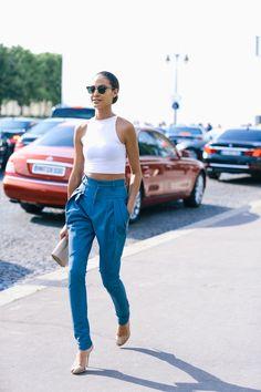 crop top + trousers