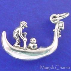White Water Raft Rafting Boat 3D .925 Solid Sterling Silver Charm MADE IN USA