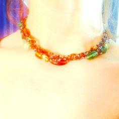 ⚓️Gorgeous Aqua&Brown Beaded Necklace Choker⚓️ Gorgeous!  Look at these beautiful colors.  Any time I've worn it (unfortunately maybe 3 times ever), I've gotten compliments every time.  Hand made boutique item.  It'll compliment any outfit you can imagine.no trades or PayPal please! Boutique Jewelry Necklaces