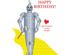 Pin the Heart on the Tin Man Game  you PRINT INSTANT DOWNLOAD