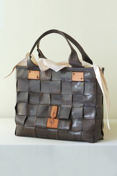 Woven Leather Bag by Eatableofmanyorders
