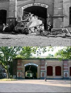 Then & Now Aachen Ww2 History, History Photos, Military History, Military Army, Military Life, Operation Market Garden, Then And Now Photos, Foto Poster, D Day