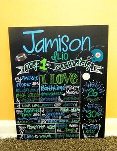 "Hand-Painted Custom Birthday Chalkboard, 1st Birthday Sign (16x20"") on Etsy, $60.00"