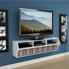 Prepac altus white storage entertainment center wcaw the modern floating tv stand wall design ideas Wall Mount Entertainment Center, Entertainment Room, Tv Wand Design, Wall Mounted Tv Console, Mounted Shelves, Console Tv, Console Tables, Tv Wall Shelves, Wall Tv