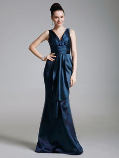 TS Couture® Formal Evening / Military Ball Dress - Dark Navy Plus Sizes / Petite Trumpet/Mermaid V-neck Floor-length Stretch Satin / Satin - USD $79.99