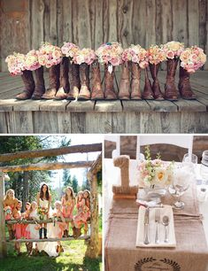 All my bridesmaids in cowboy boots.