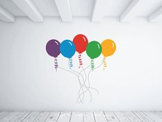 Balloon Decal Balloons Strings Celebration Decal Party Birthday Get Well Cheerful Anniversary Decal Baby Shower Blue Purple Red Yellow Green