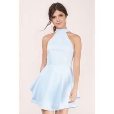 Tobi Love & Lust Skater Dress ($64) ❤ liked on Polyvore featuring dresses, light blue, frilly dresses, double layer dress, blue ruffle dress, skater dress and blue skater dress