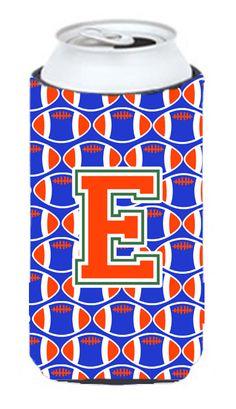 Letter E Football Green - Blue and Orange Tall Boy Beverage Insulator Hugger CJ1083-ETBC #artwork #artworks