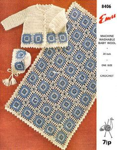 Baby Sweater, Bonnet & Afghan Vintage Crochet Pattern for download Sz 24 mos