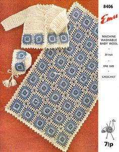 Baby Sweater, Bonnet & Afghan Vintage Crochet Pattern for download Sz 24 mos