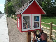 Our own Little Free Library! It's been really fun to see so many people borrowing and contributing books. So glad we did this! littlefreelibrary.org