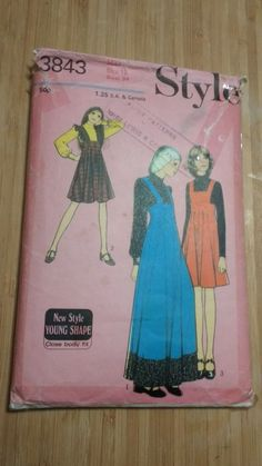 vintage 1970's style sewing pattern maxi pinafore dress and blouse uncut size 12