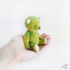Miniature Bear Green 3 inches by KittyAprilHandmade on Etsy