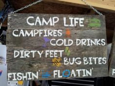 Camp sign! Approx 18x24, made from old pallet wood. Stenciled on wording (used cricut cuttin up cartridge). Finished with satin polyurethane