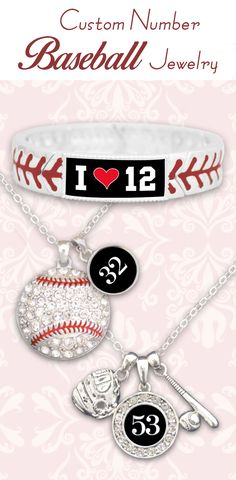 Baseball jewelry with your favorite player's number, all for $9.98 // Great for team fundraisers and end-of-season gifts! Click to see our entire Baseball Collection!