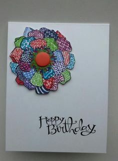 handmade birthday card: colorful zen by muscrat  ... clean and simple ... one layer card ... luv the zentangle designs in each petal done in bright colors with ultra fine sharpies ... Stampin'Up!