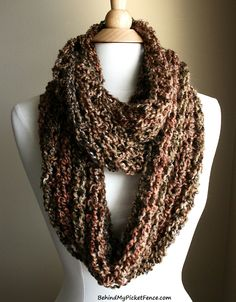 ★NEW COLOR★ BEACHCOMBER INFINITY SCARF  in Rustic Brown by www.BehindMyPicketFence.com