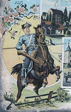 12th Husar trooper leaping a fence.