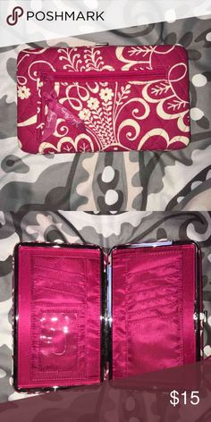 Vera Bradley push top wallet Pink with white Vera Bradley wallet with card and Id inserts , bill compartments . Push button top clasp Vera Bradley Bags Wallets