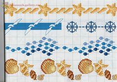 "ru / Los-ku-tik - Album ""A Punto croce Bordyurchiki grande. Cross Stitch Sea, Cross Stitch Borders, Crochet Borders, Cross Stitch Animals, Cross Stitch Charts, Cross Stitch Designs, Cross Stitching, Cross Stitch Embroidery, Embroidery Patterns"