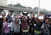 Demonstranten am MeskelPlatz in Äthiopiens Hauptstadt Addis Abeba. (Bild: Tiksa Negeri / Reuters)