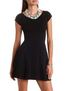 solid off-the-shoulder skater dress