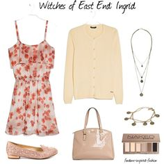 """Witches of East End's Ingrid Inspired Outfit"" by fandom-inspired-fashion on Polyvore. Based on Witches from East End's Ingrid's everyday clothing choices. Kept very feminine with pale colors. Floral dress layered with neutral cardigan. Pale pink handbag and Naked makeup in natural shades. Coin necklace and bracelet give a hint of magical charms. Flat pink shoes with a little sparkle added."