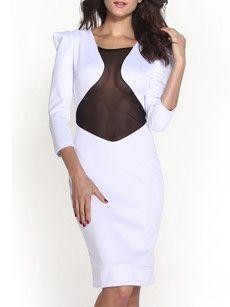 Fashionmia white long sleeve midi bodycon dresses - Fashionmia.com