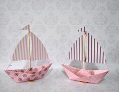 Pink Navy Nautical Paper SailboatsSet of 2 Made to by Msapple, $8.00 via Etsy