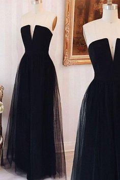 New Arrival elegant simple tulle black long prom dress, black formal dress