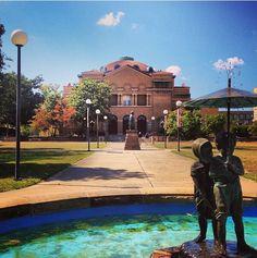 Shryock Auditorium, Dwight Morris statue and the Paul and Virginia fountain. SIU campus!