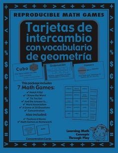 Freebie! Geometria - Trajetas De Intercambio - Spanish Math Vocabulary Games and  Lesson Plan - 26 pages - This 26-page Spanish Geometry unit has essential Spanish math vocabulary to build a foundation of math understanding. Use whole class, with second language learners or struggling math students.  Free!