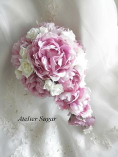 The cascade bouquet of peony and rose. (made by artificial flower)    design and work:Akiko Noguchi