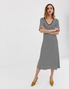 cb98cff8505 Vero Moda ribbed stripe midi dress Striped Midi Dress