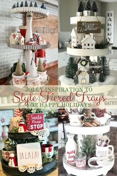 Styling tiered trays to help your home say happy holidays is what we have in store for you today. We have a fun little surprise in this round up. Styling tiered trays to help your home say happy holidays is what Mini Christmas Tree, Country Christmas, All Things Christmas, Christmas Home, Vintage Christmas, Christmas Holidays, Christmas Decorations, Christmas Ornaments, Homemade Christmas