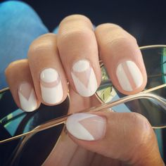 White nails using negative space.