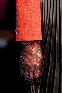 Roccobarocco: Fall 2013 ~ Winter 2014.  Beaded fishnet gloves. http://www1.pictures.stylebistro.com/it/Roccobarocco+Fall+2013+Details+n5MfKctI8FFx.jpg http://www4.pictures.stylebistro.com/it/Roccobarocco+Fall+2013+FJitR08rsRXx.jpg