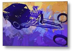 """""""Bantam Dragster Pop"""" nostalgia drag race car pop art metal print by David King.  Available in multiple sizes ready to hang.  Also available on canvas, paper, and acrylic. Colorful and vibrant pop art style for the garage or man cave.  A great gift for the car guy into vintage drag racing.  #wallart #artprint #mancave #davidkingstudio"""