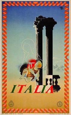 For Sale on - Original Vintage ENIT Italian Railways Travel Poster By Cassandre - Italia Italy, Paper by Adolphe Mouron Cassandre. Offered by Antikbar Limited. Retro Poster, Poster Ads, Poster Prints, Vintage Italian Posters, Vintage Travel Posters, Poster Pictures, Print Pictures, Madonna, Tourism Poster