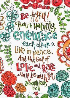 Art by Erin Leigh: Printable Scripture Art: 2 Corinthians 13:11