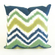 Green is a trendy color this season and combined with this unique Chevron print, this Liora Manne outdoor pillow is hot, hot, hot!