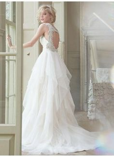 Gorgeous Tulle & Satin A-line V-neck Raised Waistline Beaded Wedding Dress