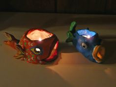 Clay tealight candle holders