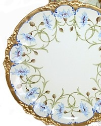 Antique French Limoges Hand Painted Blue Wild Flower Cabinet Plate-Haviland,Floral, gilt,roman coin, garland, enamel, enamelled,elegant, luxurious,rococo,scallop,scalloped,Victorian,