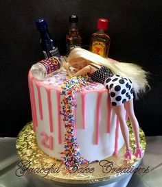 21st Bday Cake, 21st Birthday Themes, 21st Birthday Cake For Girls, 19th Birthday Cakes, Barbie Birthday Cake, 21st Bday Ideas, Funny Birthday Cakes, 21st Birthday Decorations, 18th Birthday Party