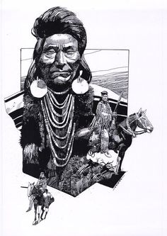 The illustrations of Italian artist Sergio Toppi. Native American Pictures, Native American Art, Art And Illustration, Illustrations, Jordi Bernet, Comic Layout, Arabian Art, Crow Art, Sketch Inspiration